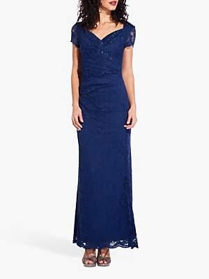 91101882 Adrianna Papell Lace Embellished Column Dress, Night Flight