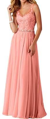 MILANO BRIDE Inexpensive Bridesmaid Dress Prom Maxi Dress V-Neck A-line Applique
