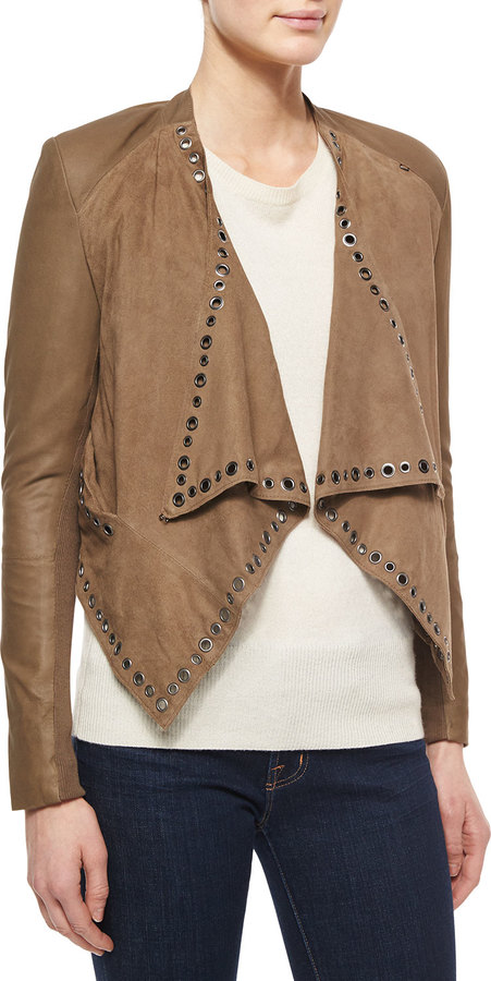 Neiman marcus grommet detail draped leather jacket for Neiman marcus affiliate program
