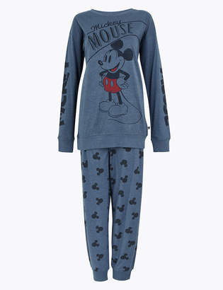 Marks and Spencer Pure Cotton Mickey Mouse Print Pyjama Set