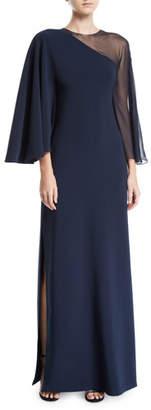 Sachin + Babi Pecora 1-Shoulder Illusion Gown