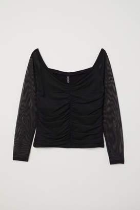 H&M Off-the-shoulder mesh top - Black