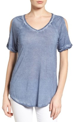 Women's Caslon Cold Shoulder V-Neck Tee $39 thestylecure.com