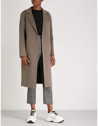 Sandro Striped-pattern brushed-wool coat