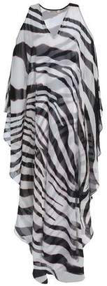 Roberto Cavalli Cold-Shoulder Zebra-Print Silk-Chiffon Maxi Dress