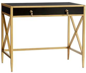 Pottery Barn Teen The Emily & Meritt X-Frame Metal Desk, Black & Gold