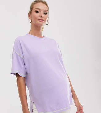 Asos DESIGN Maternity oversized t-shirt with stepped hem and contrast stitching
