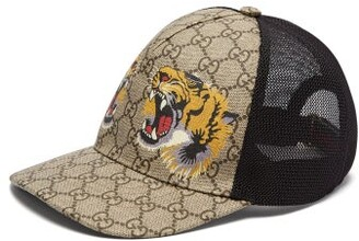 ae0ccff5af6 Gucci Gg Supreme And Tiger Print Mesh Cap - Mens - Beige
