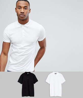 Asos DESIGN muscle fit jersey polo 2 pack SAVE