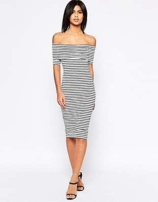 ASOS Midi Bardot Off Shoulder Dress in Stripe with Short Sleeve $34 thestylecure.com
