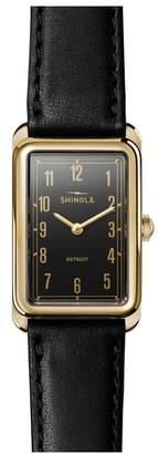 Shinola The Muldowney Rectangular Leather Strap Watch, 24mm x 32mm