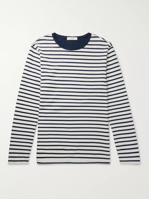 Mr P. - Striped Long-Sleeved Cotton-Jersey T-Shirt - Men - Blue