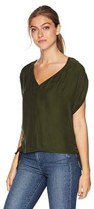 Milly Women's Washed Silk Drawstring V-Neck Dolman Blouse with Side Ties