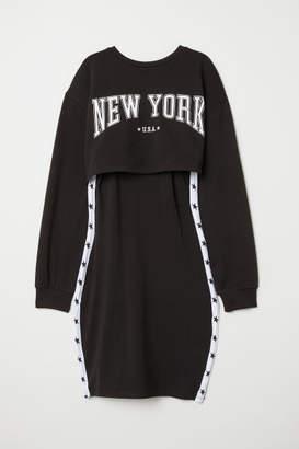 H&M Jersey Dress with Sweatshirt - Black