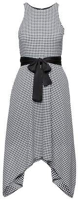 Banana Republic Petite Gingham Racer-Neck Fit-and-Flare Dress