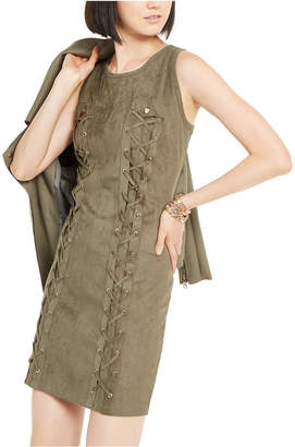 INC International Concepts Inc Lace-Up Faux-Suede Dress