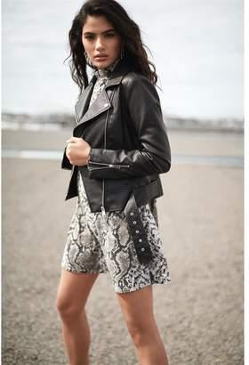 Dynamite Belted Faux Leather Jacket Jet Black