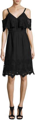 Neiman Marcus Kobi Halperin Helene Cold-Shoulder Silk Cocktail Dress