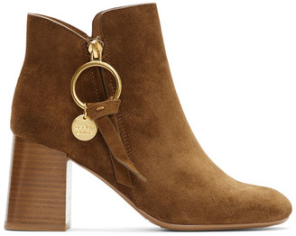 See by Chloe Brown Suede Medium Louise Ankle Boots