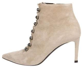 Balenciaga Suede Pointed-Toe Lace-Up Booites