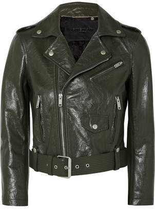 Givenchy Cropped Textured-leather Biker Jacket - Green