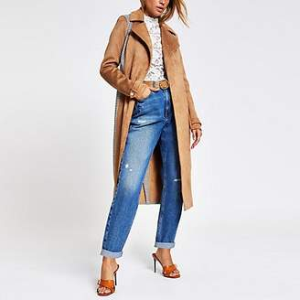 River Island Beige suedette blocked check trench coat