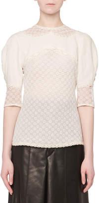 Isabel Marant Volume-Sleeve Linen Lace Top