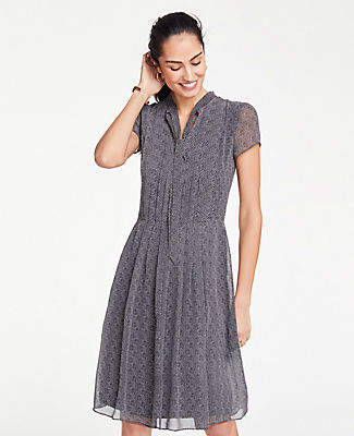 8d6ec8d03a Ann Taylor Herringbone Tie Neck Midi Dress