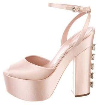 Giamba Crystal-Heel Satin Platform Sandals rose Crystal-Heel Satin Platform Sandals