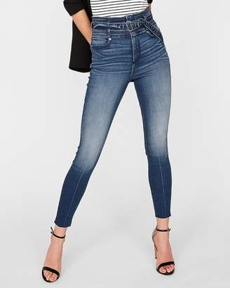 Express Super High Waisted Belted Denim Perfect Stretch+ Ankle Leggings