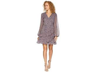 1 STATE 1.STATE Long Sleeve Ditsy Drift Ruffled Wrap Front Dress
