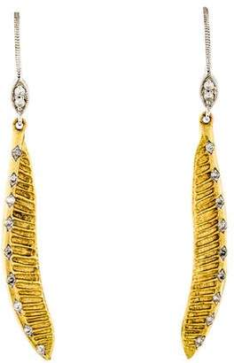 Meira T 14K Diamond Feather Drop Earrings