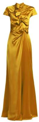 Saloni Kelly Bow Detail Silk Satin Dress - Womens - Gold