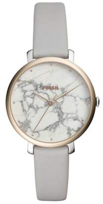 Fossil Jacqueline Three-Hand Mineral Gray Leather Watch Jewelry