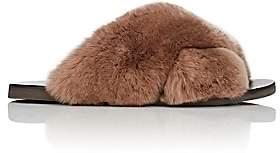 Barneys New York Women's Rabbit Fur Crisscross-Strap Slide Sandals - Lt. brown