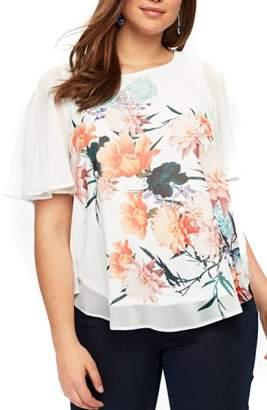 Evans Floral Print Split Sleeve Top
