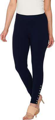 Susan Graver Weekend Cotton Spandex Leggings with Button Detail