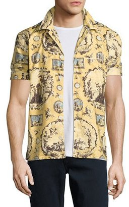 Burberry Castle Wallpaper-Print Short-Sleeve Pajama Shirt, Yellow $550 thestylecure.com