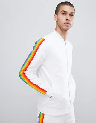 Asos DESIGN two-piece retro bomber jacket with rainbow stripe
