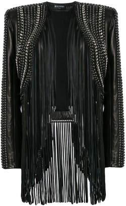 Balmain cropped fringe leather jacket
