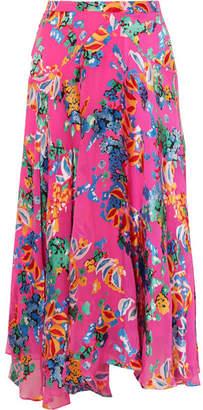 Saloni Ida-b Floral-print Devoré-chiffon Midi Skirt - Pink