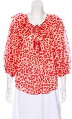 Diane von Furstenberg Abstract Print Tunic Top
