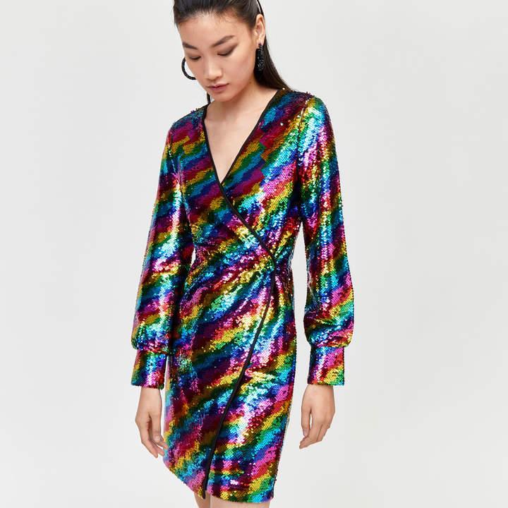Rainbow Sequin Wrap Dress