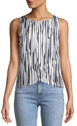Theory Mintorey Broken-Stripe Twill Tank Top