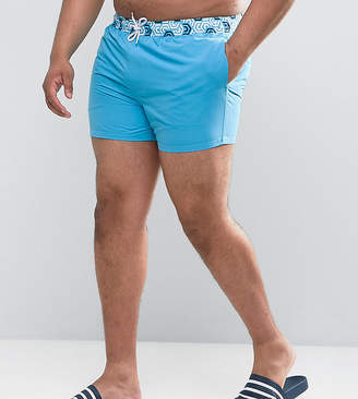 Asos PLUS Swim Shorts With Contrast Geo Print Waistband In Short Length