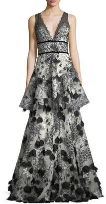Marchesa Two-Tiered 3D Floral-Embellished Gown