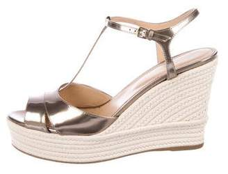 Sergio Rossi Metallic Leather Platform Wedges