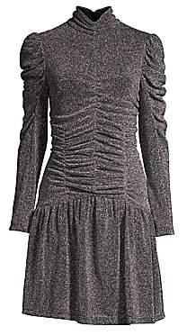 Rebecca Taylor Women's Long-Sleeve Ruched Metallic Dress
