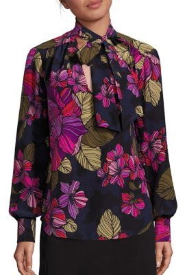 Trina Turk Deming Floral Printed Silk Top $288 thestylecure.com
