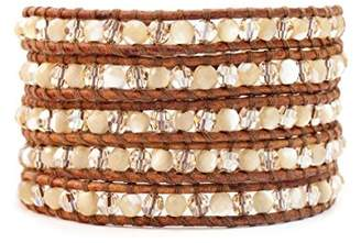 Chan Luu Mother of Pearl and Crystal Bead Wrap Bracelet on Leather